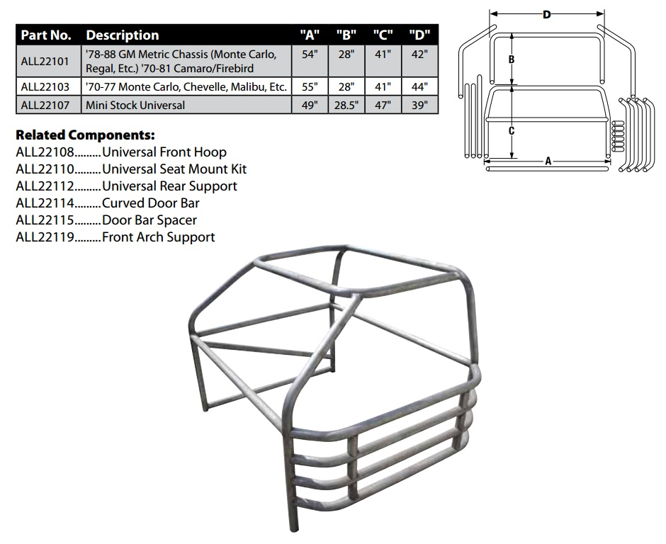 Allstar Performance Standard Roll Cage Kits On Monte Carlo Parts 81 88