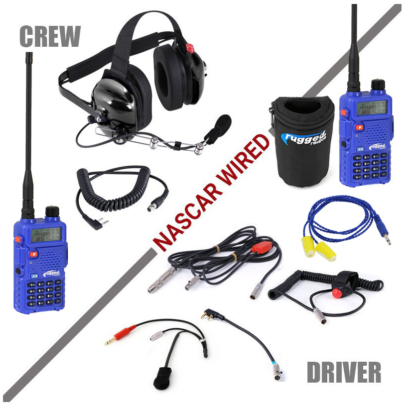 H42 Black 2 Way Radio Headset H42 Blk: RUGGED RADIOS NASCAR System With Rugged RH-5R Crew+Driver